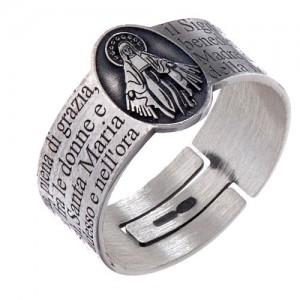 ave maria anillo de plata