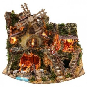 Borgo con capanna illuminata case mulino 42x59x35 cm