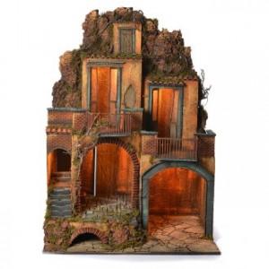 Pueblo con cueva belén napolitano 110x80x60 cm