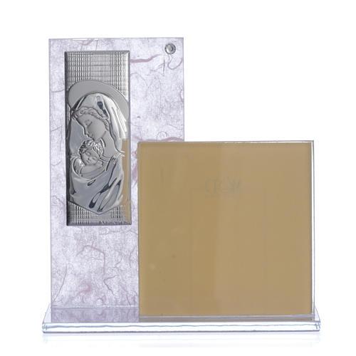 cuadro con portarretrato realizado con lamina en plata