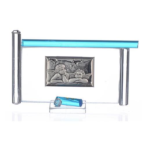 cuadro angel plata y vidrio murano h.9